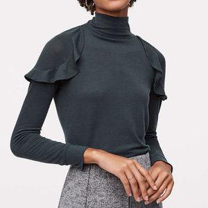 NWT LOFT Flutter Long Sleeve Turtle Neck Sweater